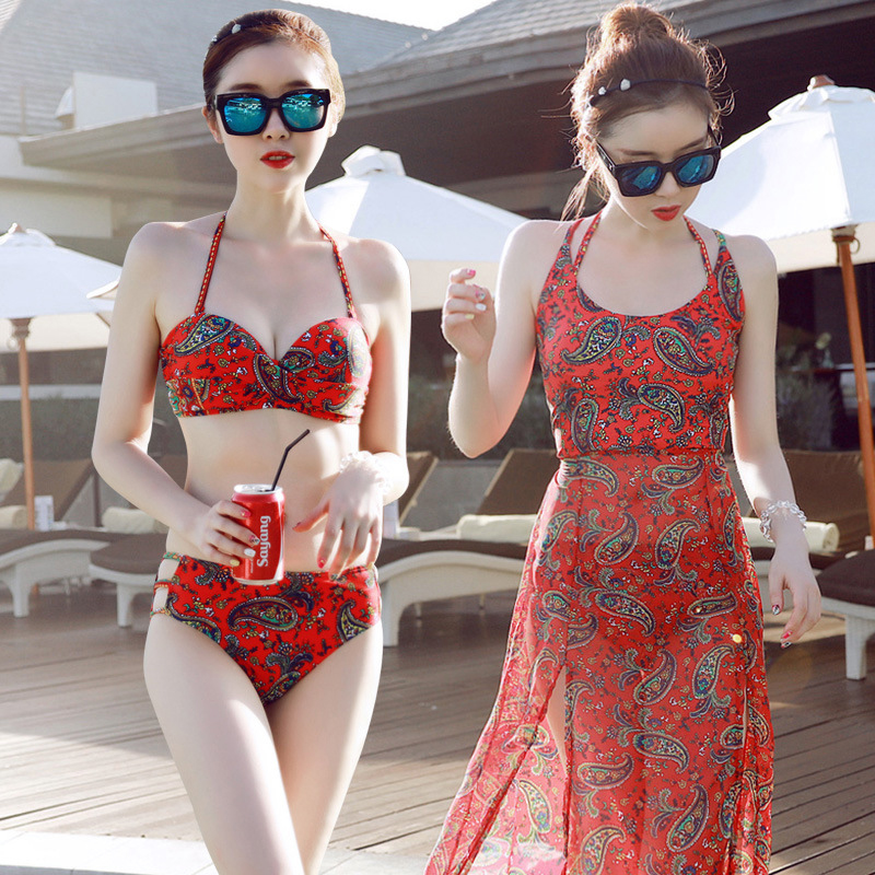 ФОТО Tankini Swimsuits Women Bikini 2016 Tankinis Bathing Suit Woman Swimsuit New Three Piece Badpakken Mayo Bayan Costume Da Bagno