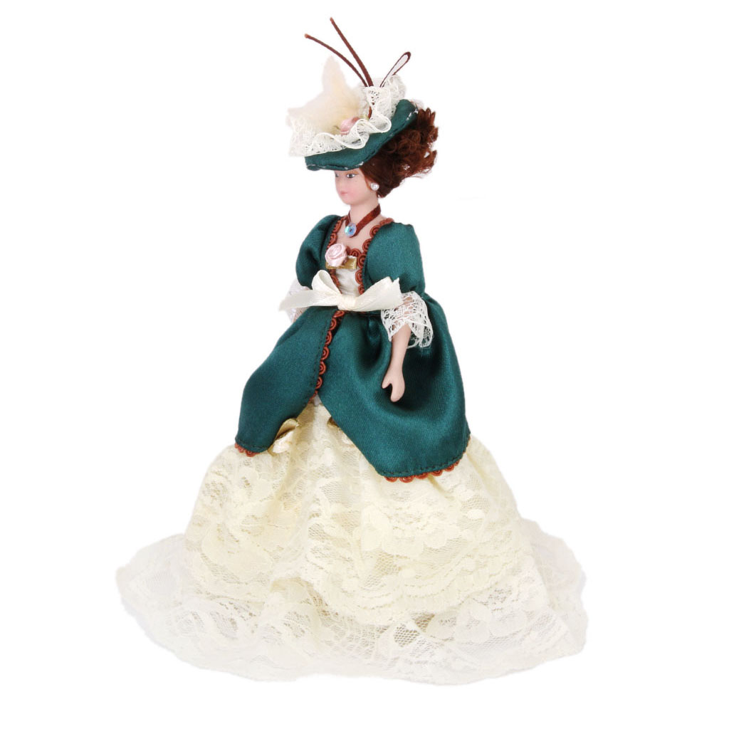 1:12 Dollhouse Miniature Porcelain Dolls Victorian Lady In Green Gown W/ Hat