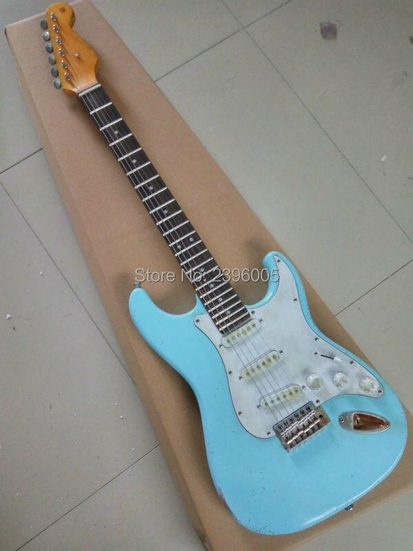 Magasin personnalisé exclusif st guitare électrique strat reliic guitare faite à la main vieilli cast guitare haute qualité ébène touche