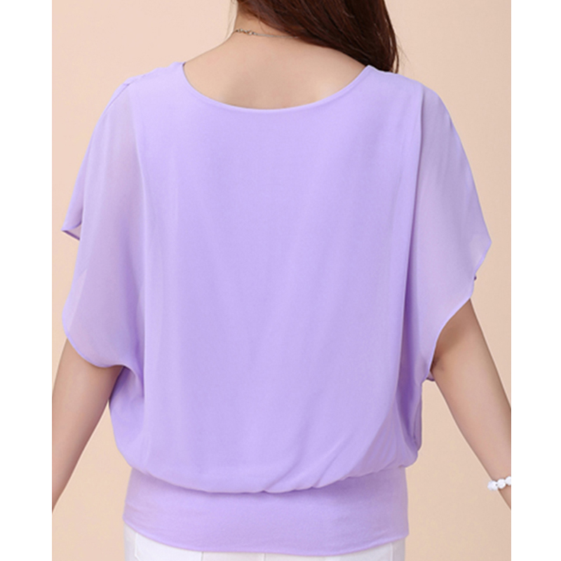 Women Tops and Blouse Butterfly Shorts Sleeve O-Neck Chiffon Blouse Loose Casual Summer Shirts Solid Blusas Clothes Plus Size 5X 5