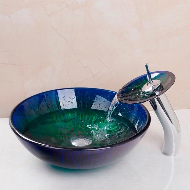 artiste en verre salle de bains designer navire vier bassin bol robinet ensemble lavabo baignoire combiner - Lavabo Salle De Bain En Verre