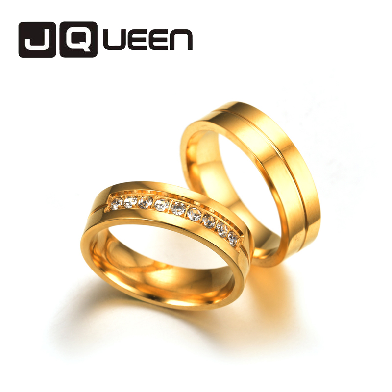 6MM Women Men Engagement Wedding Rings Stainless Steel Ring For Lovers Gold Crystal Couple Rings Set Size 5 to 13 titanium ring