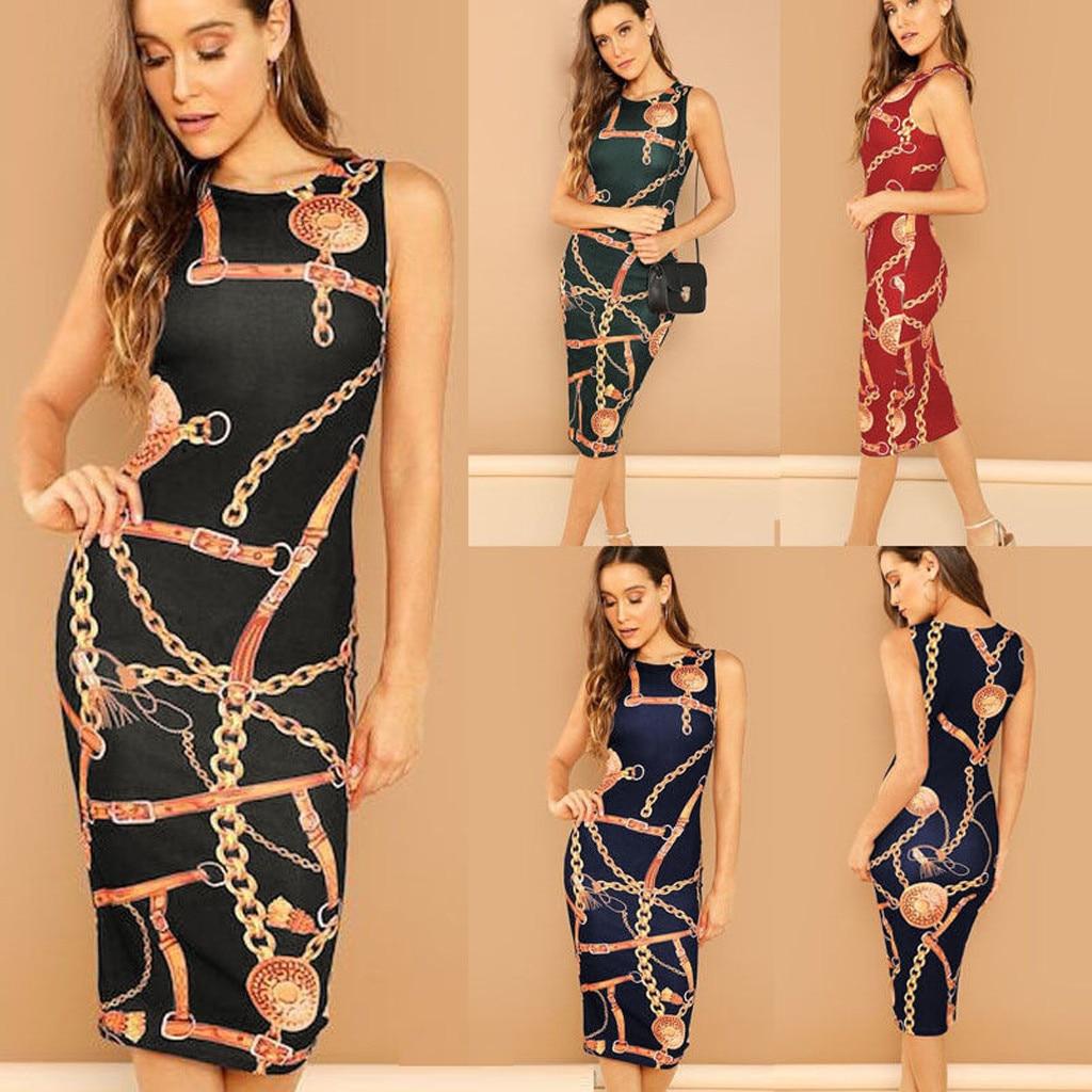 Women Summer Casual dresses woman party night O Neck Chain Print Sleeveless Bodycon Clubwear Evening Slim Formal Dress W0507 Dresses  - AliExpress