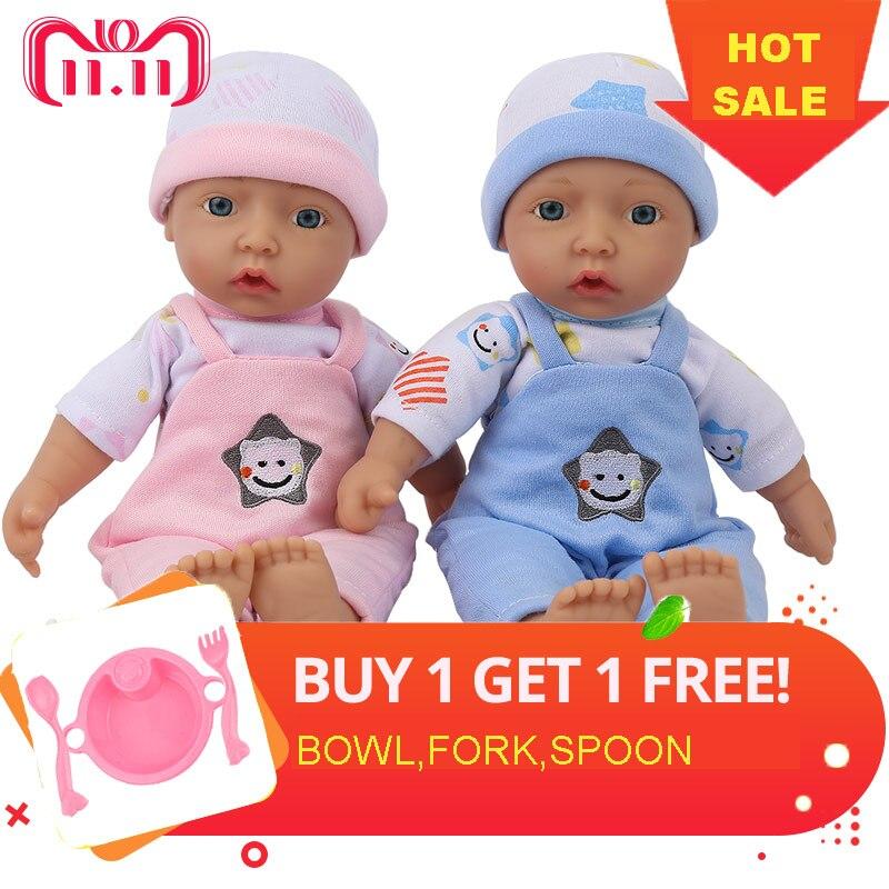 NPK DOLL Reborn baby plush toy lifelike new born baby kawaii soft body pink blue dolls kids playmate girls gift 10 inch 25 cm kawaii baby dolls