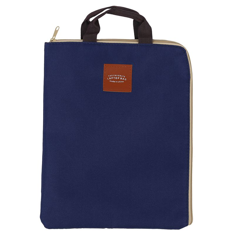Simple Solid A4 Big Capacity Document Bag Business Briefcase Storage File Folder For Papers Stationery Student Gift Blue