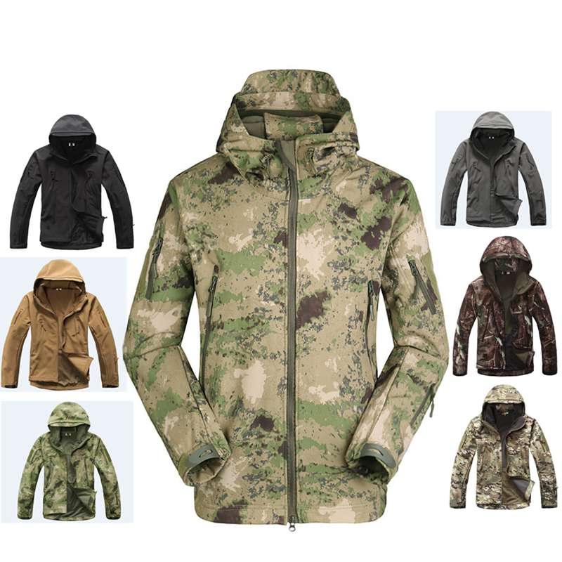 2018 Hunting clothes Outdoor Shark Skin tad v4 Tactical millitary Softshell Jacket Suit Men Waterproof Combat Jacket+Pants lurker shark skin soft shell v4 military tactical jacket men waterproof windproof warm coat camouflage hooded camo army clothing