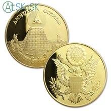 10 sztuk/partia pozłacane pamiątkowe monety piramidę majów Regalia amerykański jednym okiem otwartym, pamiątkowe monety kolekcje prezenty 40*3mm