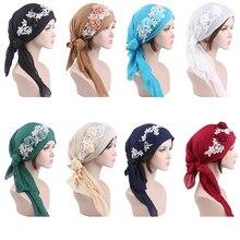 8 PCS Mulheres Lenço de Cabeça Muçulmano Flor Chapéu Islâmico Árabe Turbante Quimio Pré Amarrado Câncer Bandana Headwear Tampas de Moda cor aleatória