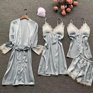 Image 4 - 2019 Sexy Nightwear Lace Silk Pyjamas Women Satin Pajamas Sets 4 Pieces Sleepwear Pijama With Chest Pads Home Wear