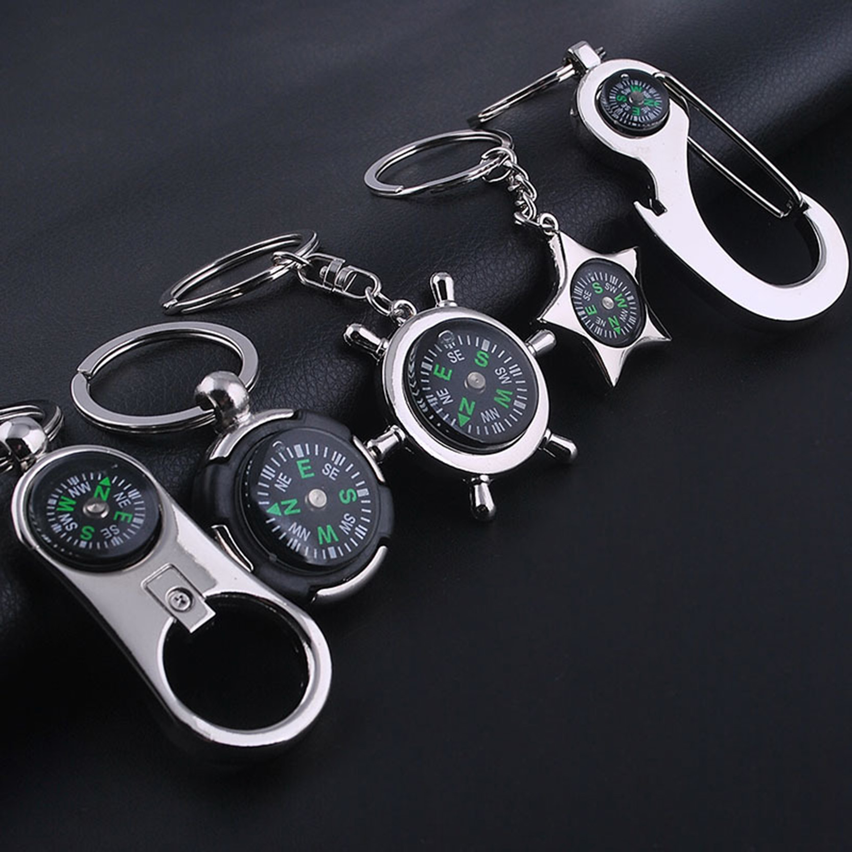Vintage Compass With Beer Opener Key Chains Rings Mens