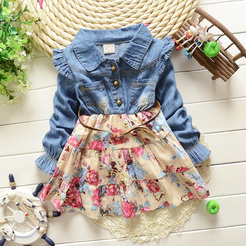 Girls Polka Dot cartoon princess dress Denim floral dress summer dresses Lace Flowers Long Sleeve Kids Free Shipping 2