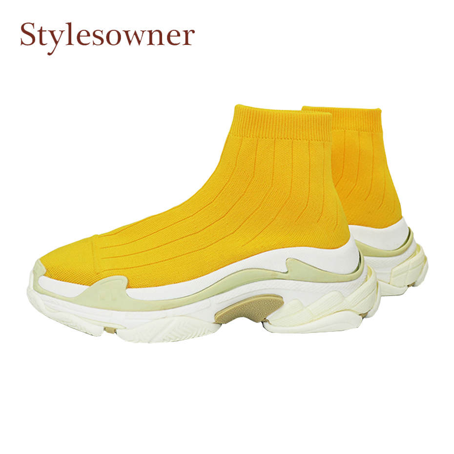 Stylesowner new design women sock boots fashion stretch fabric flat casual shoe thick heel comfort high quality women short boot casual metal and flat heel design short boots for women