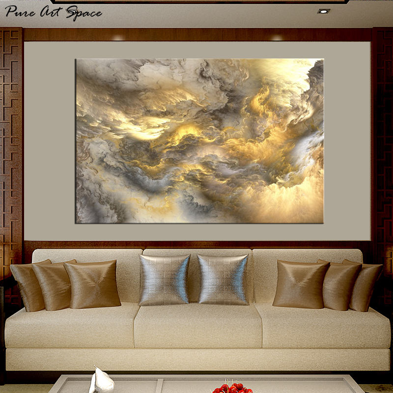 Us 14 8 Large Canvas Print Abstract Art Modern Abstract Painting Yellow Black White Cloud Decor Posters And Prints Custom In Painting Calligraphy
