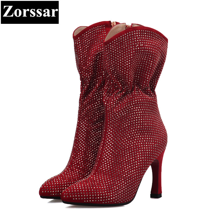 {Zorssar} 2017 new Luxury brand ladies shoes Fashion crystal pointed Toe High heels Mid-Calf boots winter womens snow boots new 2017 spring summer women shoes pointed toe high quality brand fashion womens flats ladies plus size 41 sweet flock t179