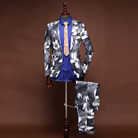 Jacket+Pants 2 Piece Brand Men Suits White Jacquard Blazers Wedding Slim Fit Male Suit Tuxedo Groom Prom Party Business Mens