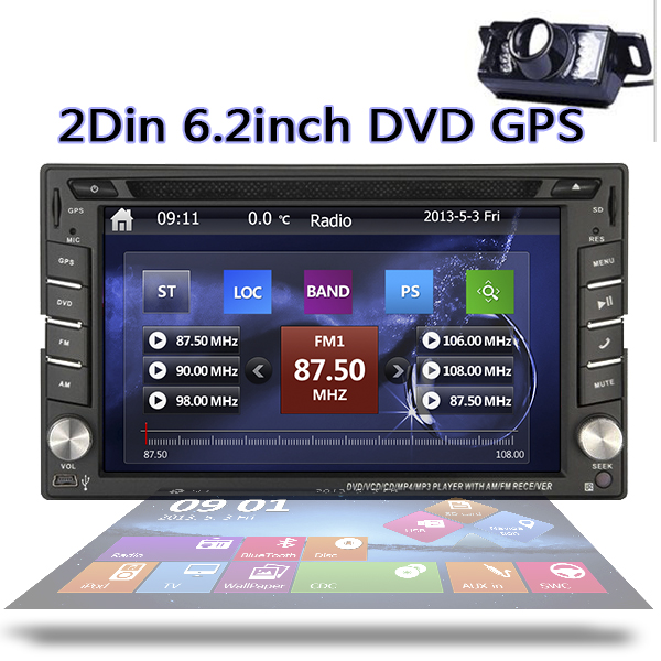 Free Camera NEW WinCE 8 UI Car headunit Auto 6 2inch double 2 Din GPS Navigation