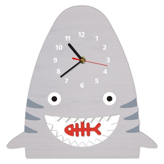 1piece Lovely Cartoon Shark Wooden Pendulum Wall Clock Watch Baby Nursery Art Decor For Kid S