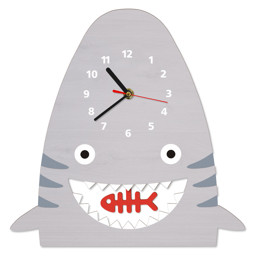 Us 17 99 10 Off Lovely Cartoon Shark Wooden Pendulum Wall Clock Watch Baby Nursery Art Decor For Kid S Room Unique Gift Children In
