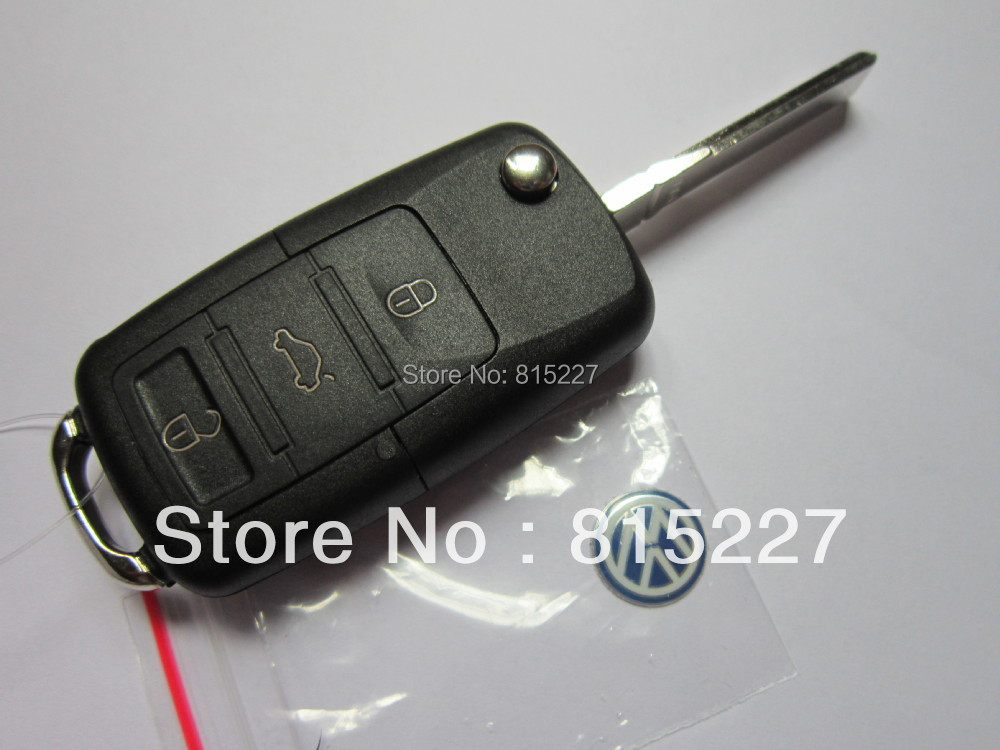 Car Folding Remote Key Shell Case Replacement 3 Buttons Volkswagen VW Passat Tiguan Polo Golf Keys + - Union Tech Tool Store store