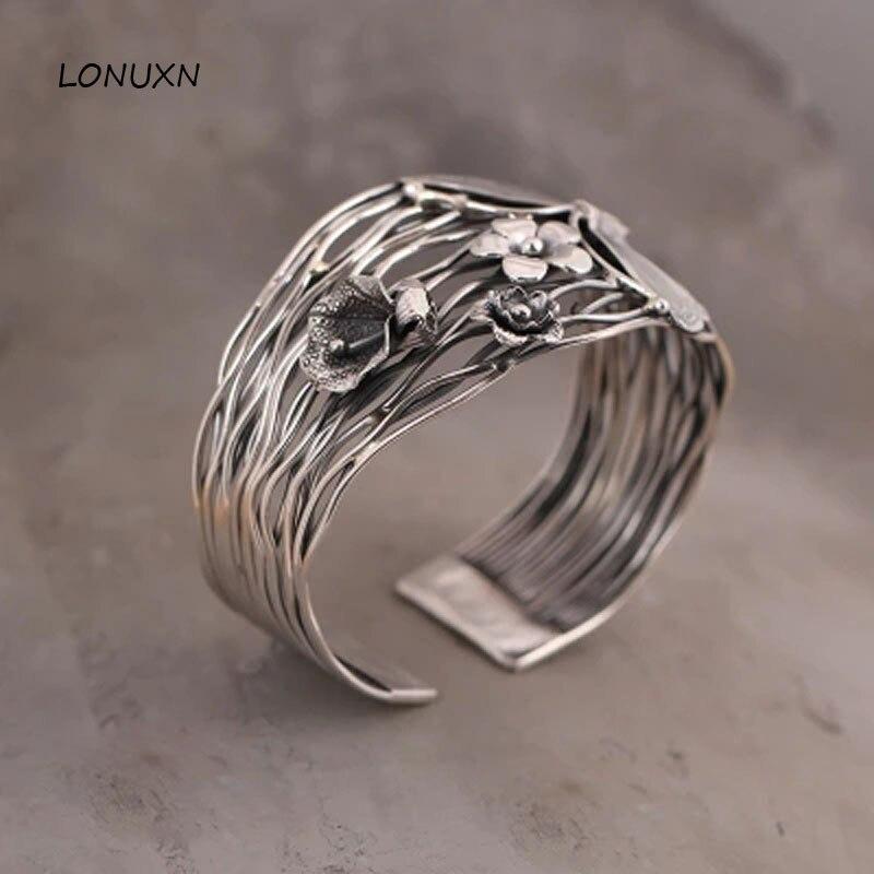 100% pur 925 Bracelet En argent Sterling femmes large 42mm Thaïlande main papillon fleurs ouverture Bracelet Creux femmes bijoux