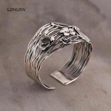 100% чистый 925 пробы серебряный браслет женские широкие 42 мм Таиланд ручной работы Бабочка Цветы открытие браслет Открытые женские ювелирные изделия
