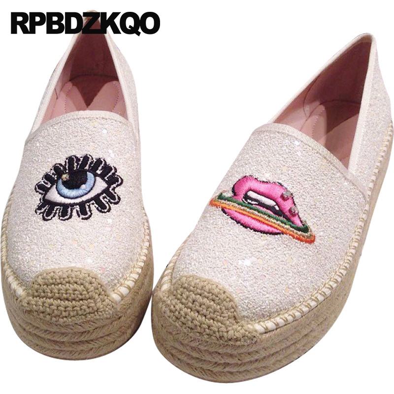 diamond stud glitter embroidery fisherman eyelash espadrilles creepers platform flats sequin white hemp embroidered luxury women sequin embroidered zip up jacket page 8