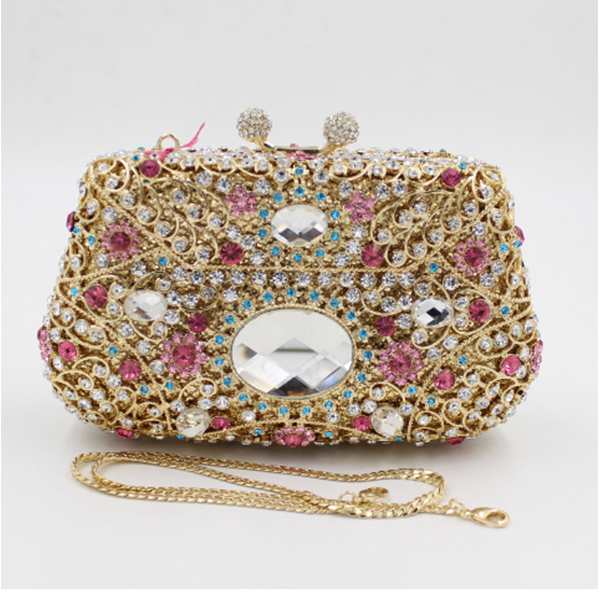 Gift Box Metal gold Minaudiere Evening bags pink Crystal Handbags Women Socialite Party Prom Bag Bridal Clutches Wedding Purse bridal wedding flower clutch crystal bags metal gold women evening clutches party cocktail dinner minaudiere bag smyzh e0328