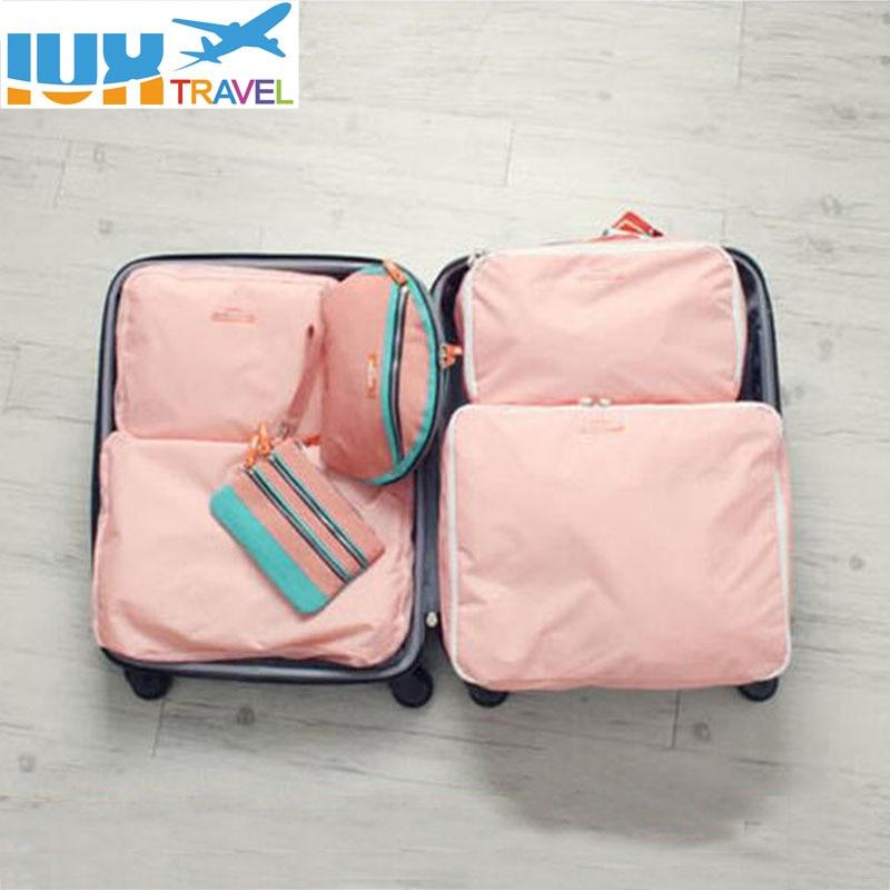 5PCS komplekts modes apģērbu organizators Ceļojuma soma Liela ietilpības maiss Sieviešu saliekamais soma Unisex bagāžas ceļojuma soma