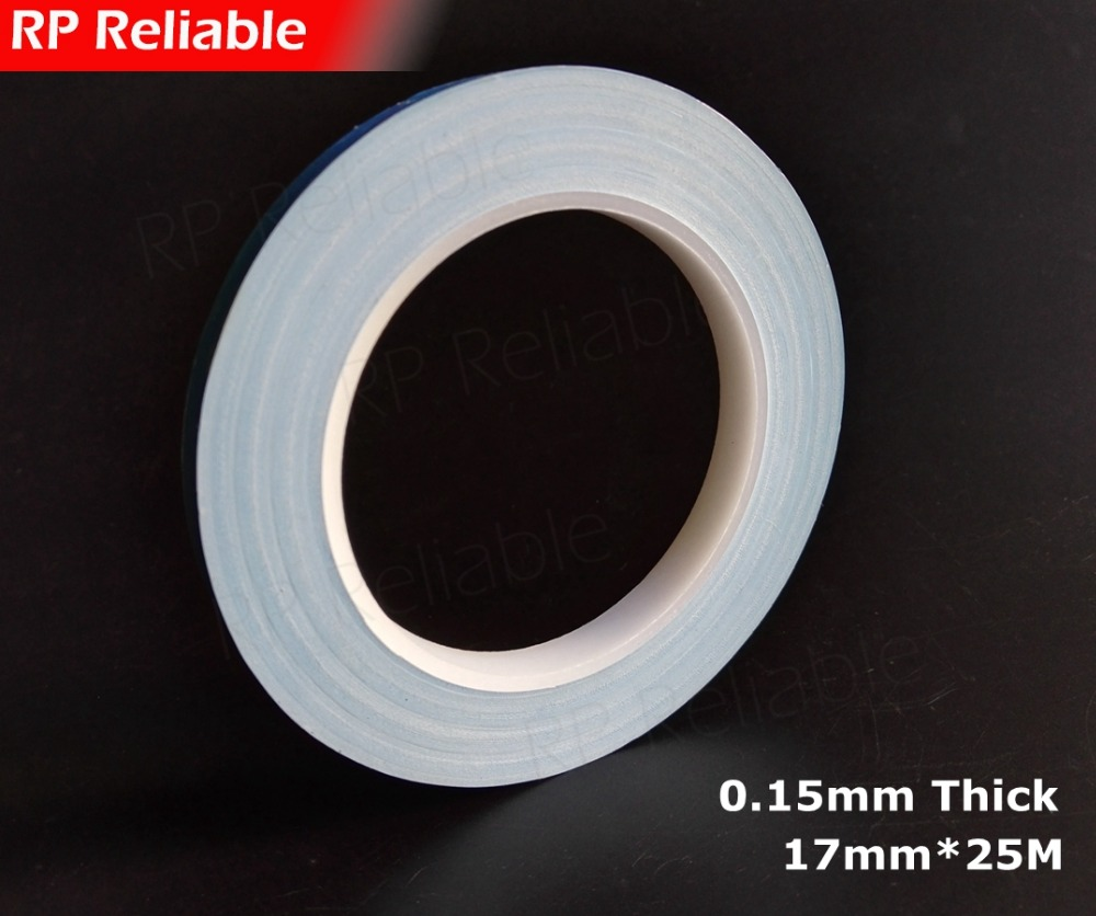 1x 17mm*20M*0.15mm RP Thermal Transfer Fiber Glass 2 Sides Sticky Tape for LED Module, Thermal Pads, PCB Heat Sink Cool Bond synthetic graphite cooling film paste 300mm 300mm 0 025mm high thermal conductivity heat sink flat cpu phone led memory router