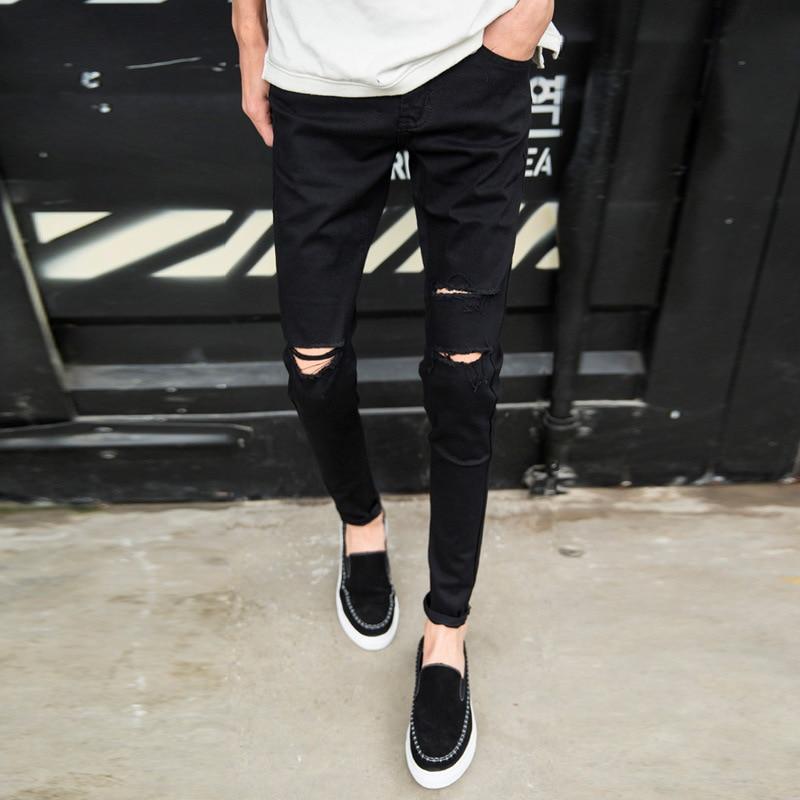 Top Kualitas 2020 Fashion Kasual Lutut Lubang Hitam Skinny Jeans Pria Pantalon Homme Celana Pensil Remaja Koboi Celana Hombre Jeans Aliexpress