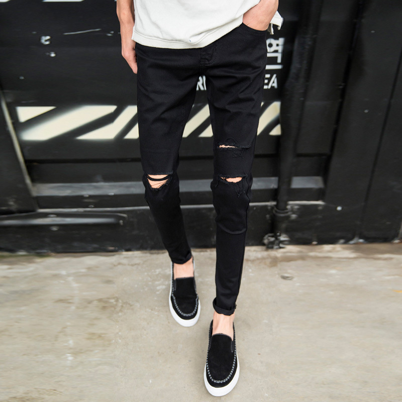 Top Quality 2019 Fashion Casual Knee Hole Black Skinny Jeans Men Pantalon Homme Pencil Pants Teenagers Cowboys Trousers Hombre