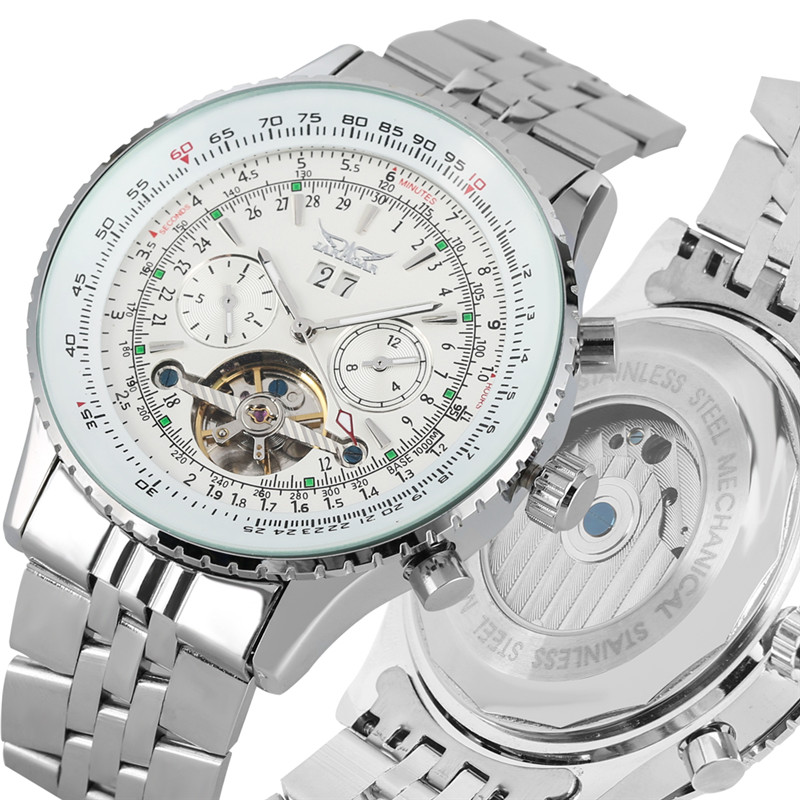 Automatic Mechanical Watches Self Wind for Men Large Dial with Calendar Skeleton Luminous Function Mechanical Wristwatches