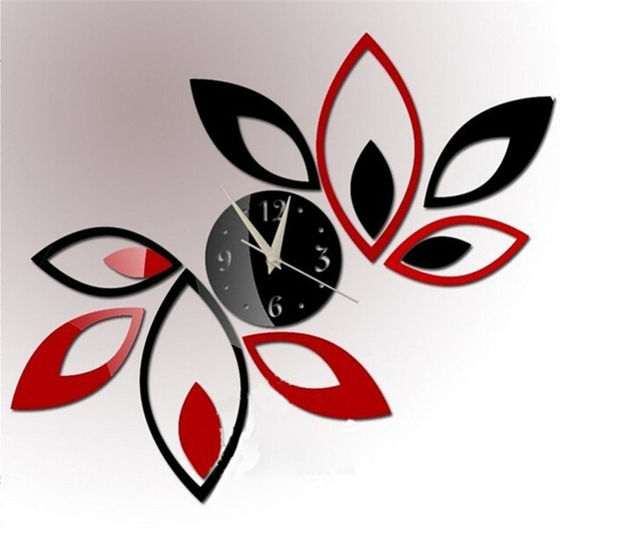 diy fashion 3d wall clock leaves shaped needle sticker foam for wall clock mdern design wall - Designer Wall Clocks Online