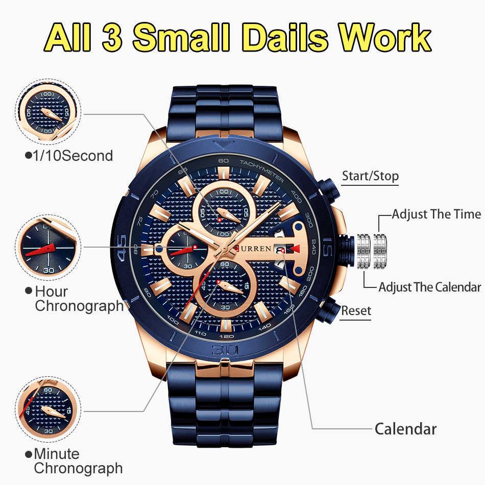 Мужские часы Curren 2019 Топ бренд класса люкс Бизнес золотые мужские наручные часы Хронограф Золотой человек часы 2018 Relogio Masculino