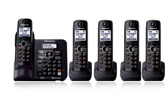 5 Трубок KX-TG6641 DECT 6.0 Цифровой беспроводной телефон Черный Беспроводной Телефон с автоответчиком