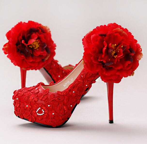 ФОТО 14CM, 12CM super high thin heels pumps shoes womens red big flowers lace ladies girl red party dress pumps dinner shoes TG767