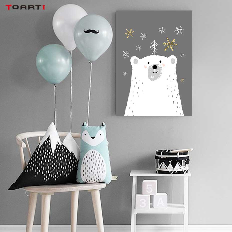 Image 4 - Cartoon Animals With Umbrella Prints Posters Elephant Canvas Painting On The Wall Enjoy The Day Life Quotes Kids Bedroom Decor-in Painting & Calligraphy from Home & Garden