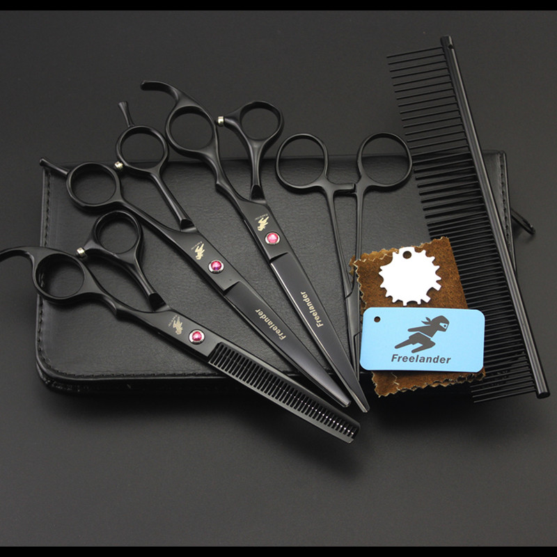 7 inch Hair Cutting+Thinning+Curved Shears 440C Straight Scissors 4PCS Set +comb +Case Professional Pet Dog Grooming Scissors 7 inch Hair Cutting+Thinning+Curved Shears 440C Straight Scissors 4PCS Set +comb +Case Professional Pet Dog Grooming Scissors