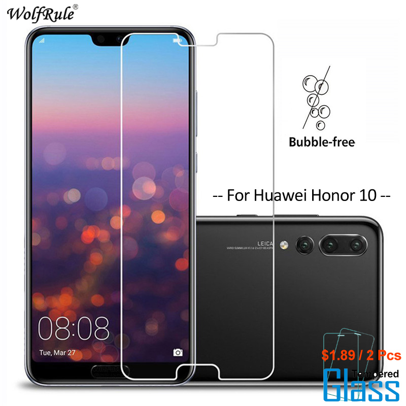 WolfRule 2Pcs For Glass Huawei Honor 10 Screen Protector Tempered Glass For Huawei Honor 10 Glass Phone Film