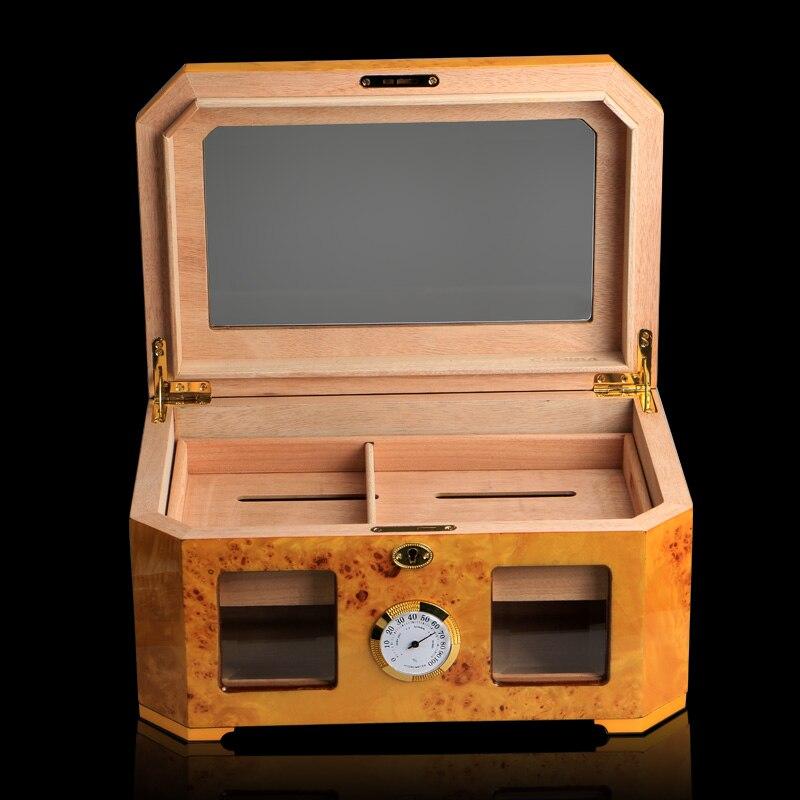 Yellow Visual Window Glossy Piano Finish Wood Cigar Humidor Cabinet Large Capacity Storage Box W/ Lock Hygrometer Humidifier