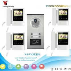 YobangSecurity 4,3 дюймов Цвет Видео телефонный звонок Камера домофон Системы RFID Доступа Управление для 4 Единица квартира двери