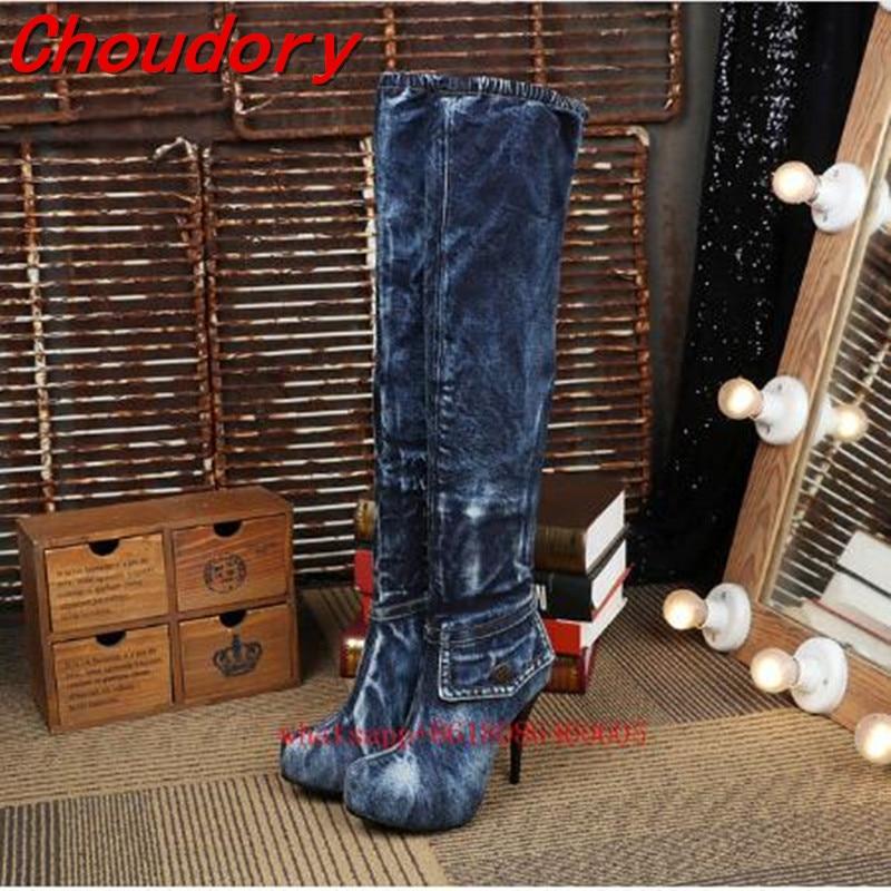 Choudory Women Barreled blue denim Boots 2017 High Heels Jean Boots Women OverKnee Thigh High Boots Fashion Denim platform Shoes women shoes high heels high boots with fine denim women s boots