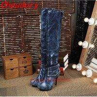 Choudory Women Barreled blue denim Boots 2017 High Heels Jean Boots Women OverKnee Thigh High Boots Fashion Denim platform Shoes