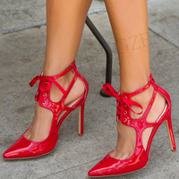 LAIGZEM Women Heels Pointy Toe Patent Red Black Pumps Summer Dress Party Shoes Sandals Woman Zapatos Mujer Large Size 34 47