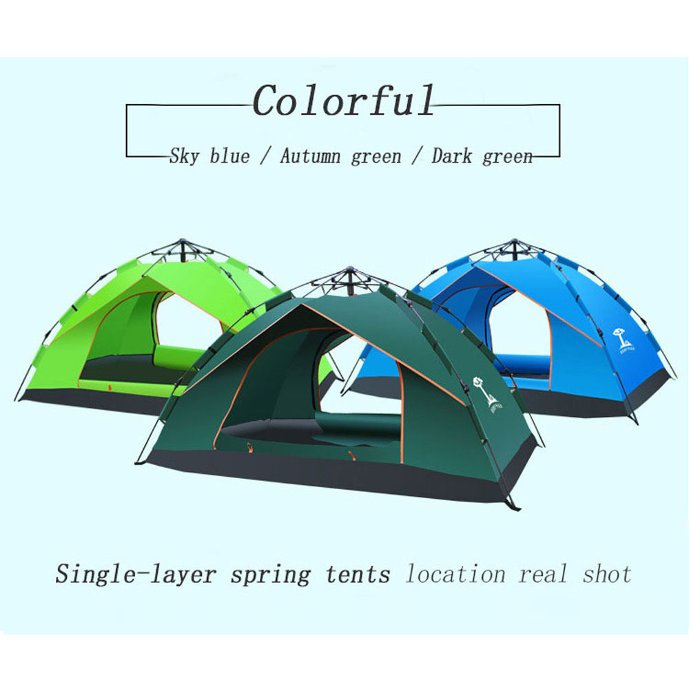 3-4 person Windproof Waterproof Anti UV Single  Layer Tent Ultralight Outdoor Hiking Camping Tent Picnic tent with Carrying Bag nh cloud outdoor single person camping tent anti rain 4seasons ultraportability 20d nylon silicone cated waterproof 8000mm