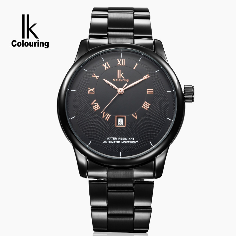 New 2017 IK Luxury Montre Homme Men's Day Roman Number Mechanical Watch Auto Watches Wristwatch Free Ship Gifts fosining luxury montre homme watch men s auto mechanical moonpahse genuine leather strap watches wristwatch free ship