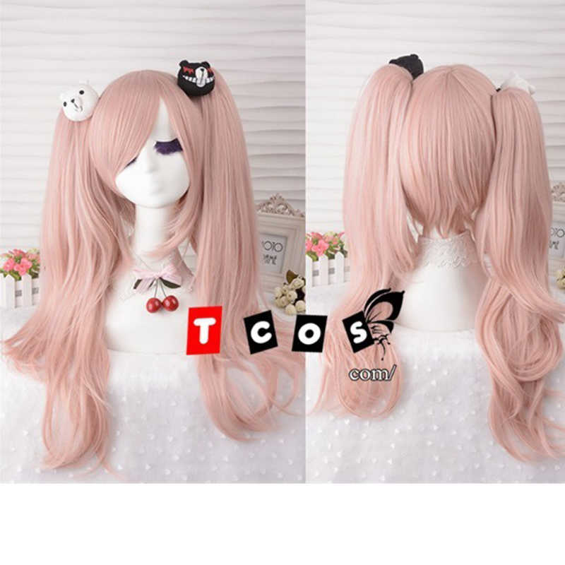 IHYAMS Junko Enoshima Light Pink Cosplay Hair Wig Danganronpa Dangan Ronpa Heat Resistance Fiber With Chip Ponytails
