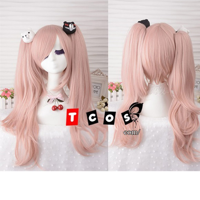 IHYAMS Junko Enoshima Light Pink Cosplay Hair Wig Danganronpa Dangan Ronpa Heat Resistance Fiber With Chip Ponytails 目
