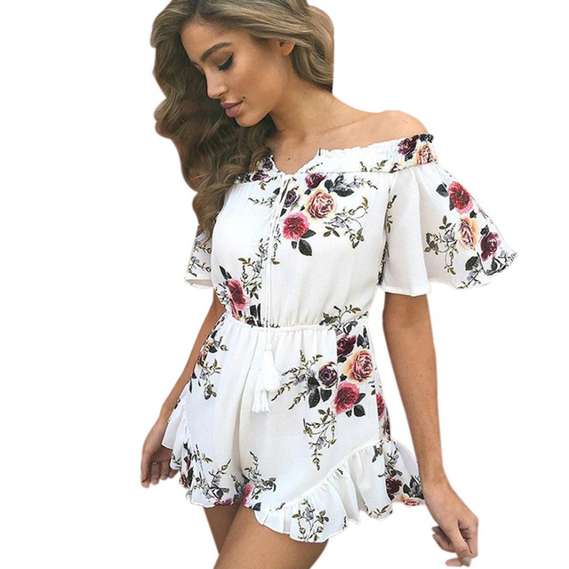 Sexy Women Off Shoulder Jumpsuit Short Rompers Floral Slash Neck Overalls  Flare Sleeve Ruffle Casual Playsuit