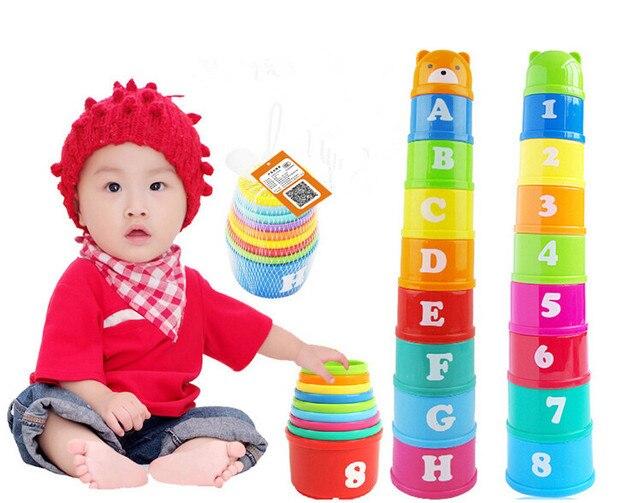 Nova Descoberta de Não-Tóxico Brinquedos Educacionais Do Bebê Criança Criança Medir Até Pilhas Empilhando Copos com Número Carta Brinquedos Do Bebê